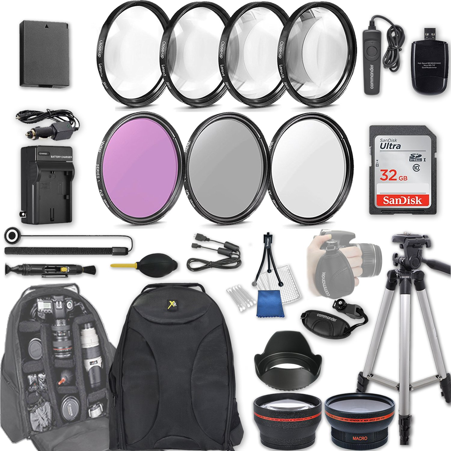 58mm 28 Pc Accessory Kit for Canon EOS Rebel T6, T5, T3, 1300D, 1200D, 1100D DSLRs with 0.43x Wide Angle Lens, 2.2x Telephoto Lens, 32GB Sandisk SD, Filter & Macro Kits, Backpack Case, and More by 33rd Street