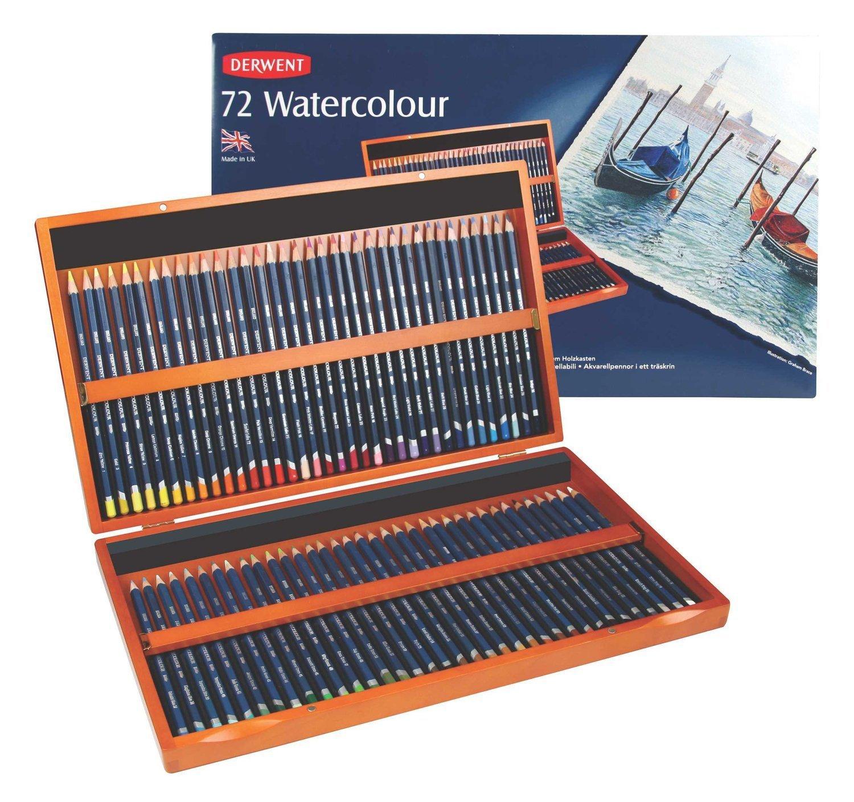 Derwent Colored Pencils, Watercolor, Water Color Pencils, Drawing, Art, Wooden Box, 72 Count (32891)