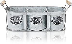 Farmlyn Creek Galvanized Metal Décor Buckets with Tray (Set of 3)
