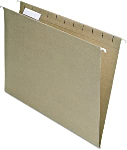 EarthWise by Pendaflex 100% Recycled Hanging Folders, Letter Size, 1/5 Cut, Natural, 25 per Box (74542)