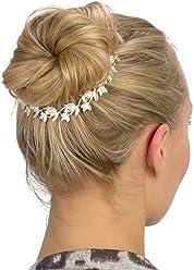 SIX Haarschmuck: Silberglänzende Haarspange mit Blätter-Ranken und schimmernden Kunstperlen, ideal als Brautschmuck, für Ballerinas oder für (329-839)