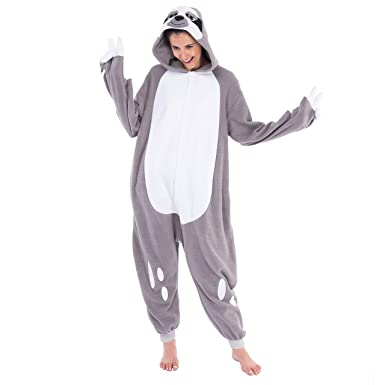 fa9f1c8356 Amazon.com  Spooktacular Creations Adult Unisex Onesie Pajama Plush Cosplay  Sloth Animal Costume  Clothing