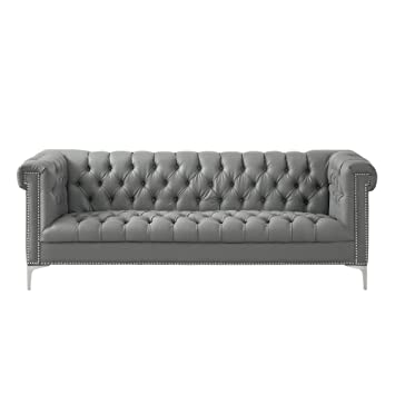 Oxford Grey Leather Chesterfield Sofa   Silver Metal Y Legs | Button Tufted  | Nailhead