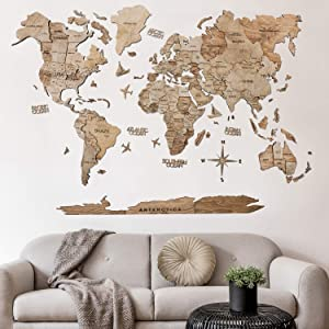 3D Push Pin Wood World Map Wall Art. Large Wall Decor - World Travel Map ALL Sizes (M, L, XL). Any Occasion Gift Idea - Wall Art For Home & Kitchen or Office