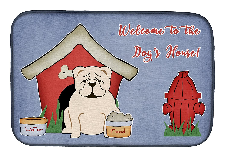 Caroline 's Treasures bb2877ddm犬家コレクション英語ブルドッグホワイトディッシュ乾燥マット、14 x 21、マルチカラー   B07BQHFC9W