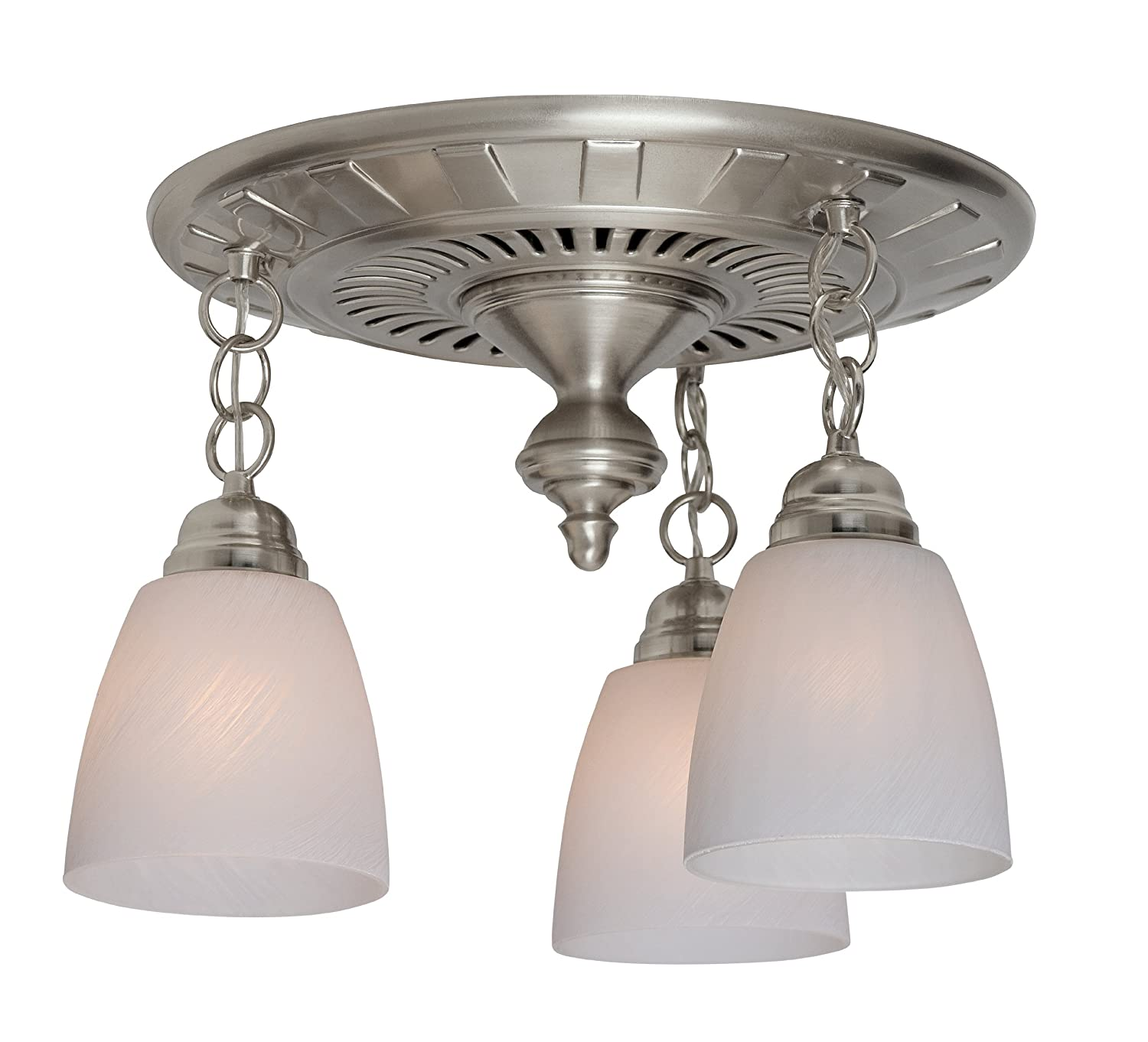 Hunter 80705 Garden District 70 CFM 3 Light Bathroom Fan, Brushed Nickel  With Silk Road White Glass Shades   Vanity Lighting Fixtures   Amazon.com