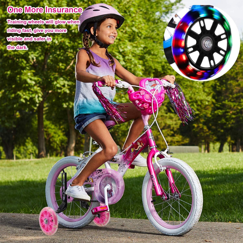 Destello Bicicleta Estabilizador Ruedas Ruedas De Entrenamiento De Bicicleta Riding Equipment Rosado Bicicleta Infantil Ruedines pwsap Ni/ños Entrenamiento Ruedines Accesorio de Bicicleta Universal