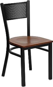 Flash Furniture HERCULES Series Black Grid Back Metal Restaurant Chair - Cherry Wood Seat