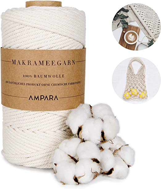 Ampara – Hilo Suave de macramé 4 mm x 120 m, 100% Hilo de algodón ...