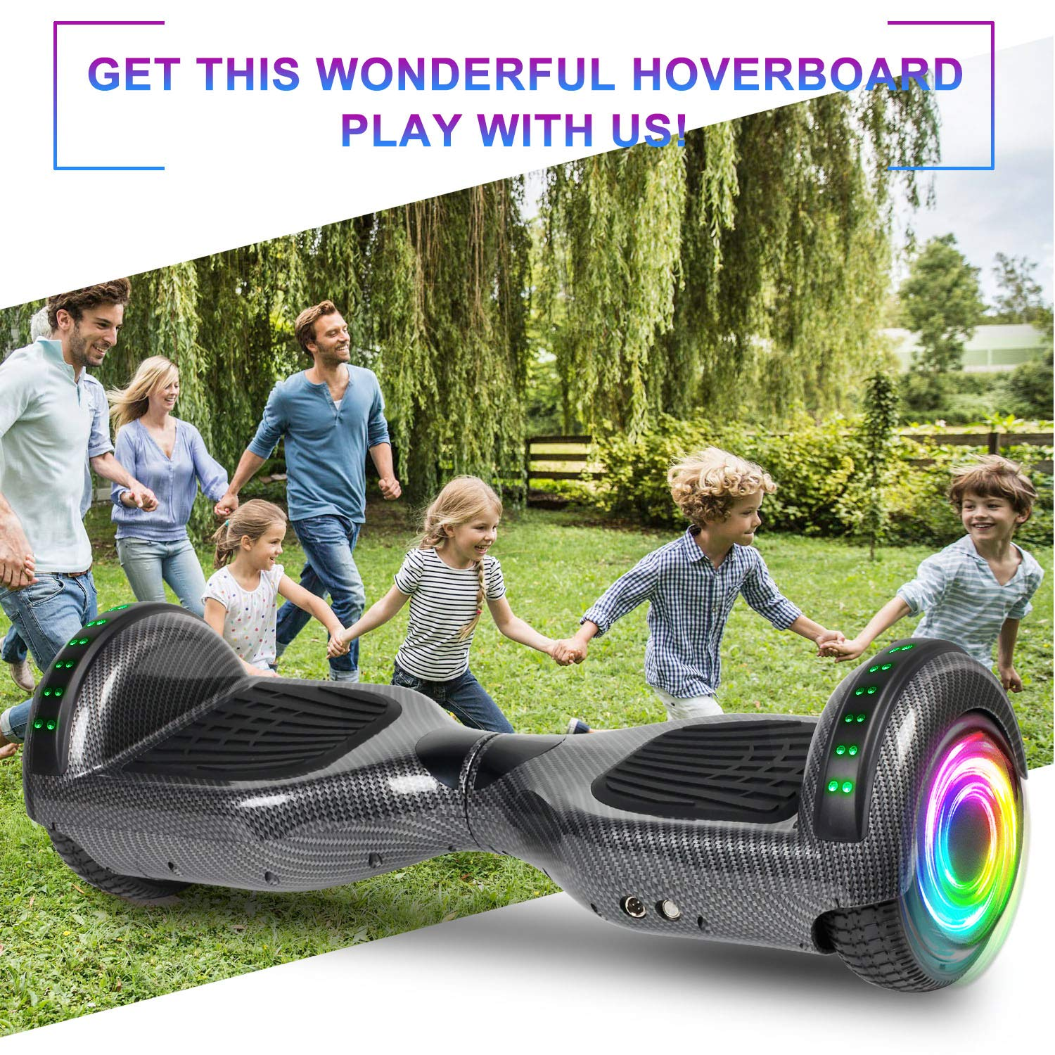 SISIGAD Hoverboard Self Balancing Scooter 6.5'' Two-Wheel Self Balancing Hoverboard with Bluetooth Speaker and LED Lights Electric Scooter for Adult Kids Gift UL 2272 Certified - Carbon Black by SISIGAD (Image #7)