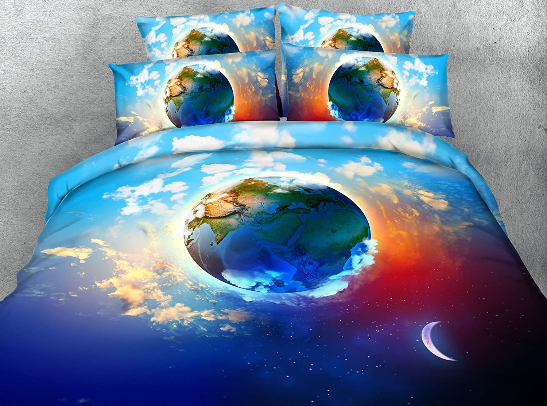 3d Moon Earth布団カバーセットツインフル/クイーンキングCal King美しいデザイン寝具セット枕Shams Bedspreads 3個入りホームテキスタイルコットン/ポリエステル California King ブルー B077SYWS1F  California King