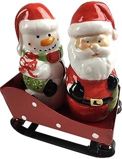 Set Of 2 Ceramic Santa Shaped Christmas Salt And Pepper Shaker Pots Cruet Set
