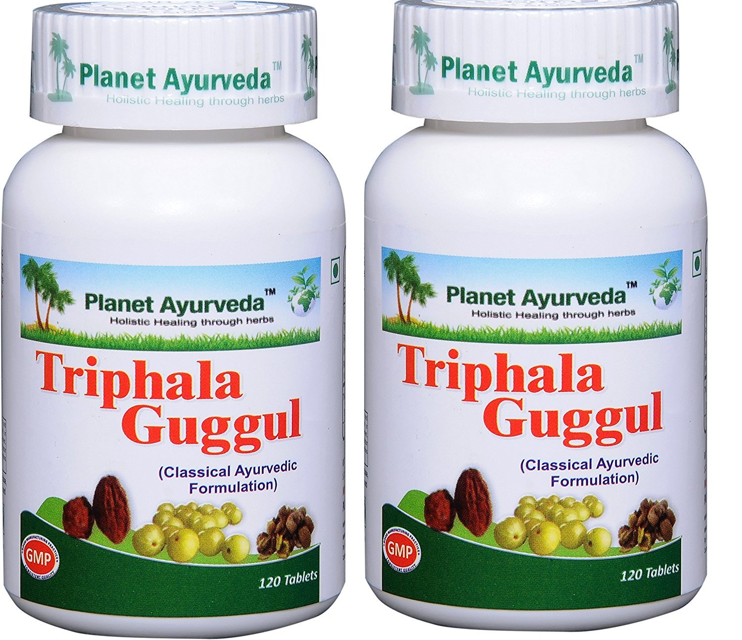 Triphala Guggul - 2 bottles (each 120 tablets, 500mg) - Planet Ayurveda - US seller