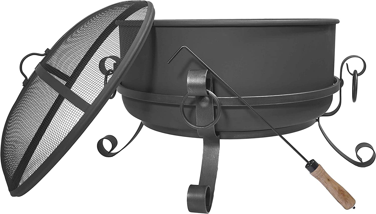 Titan 24 Inch Large Steel Cauldron Fire Pit with Spark Screen