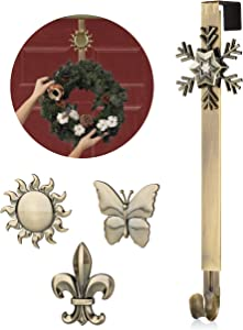 ZEPRU Wreath Hanger Chrome - Hanging Indoor and Outdoor Decoration Holder for Door and Wall - Adjustable Hook and Interchangeable Icons - Heavy-Duty Holiday Decor for Home & Office - Easy to Install