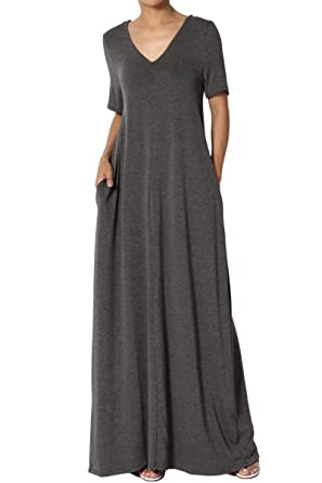 e276b27eb1 TheMogan Women s Casual V-Neck Short Sleeve Pocket Long Maxi Dress Charcoal  S