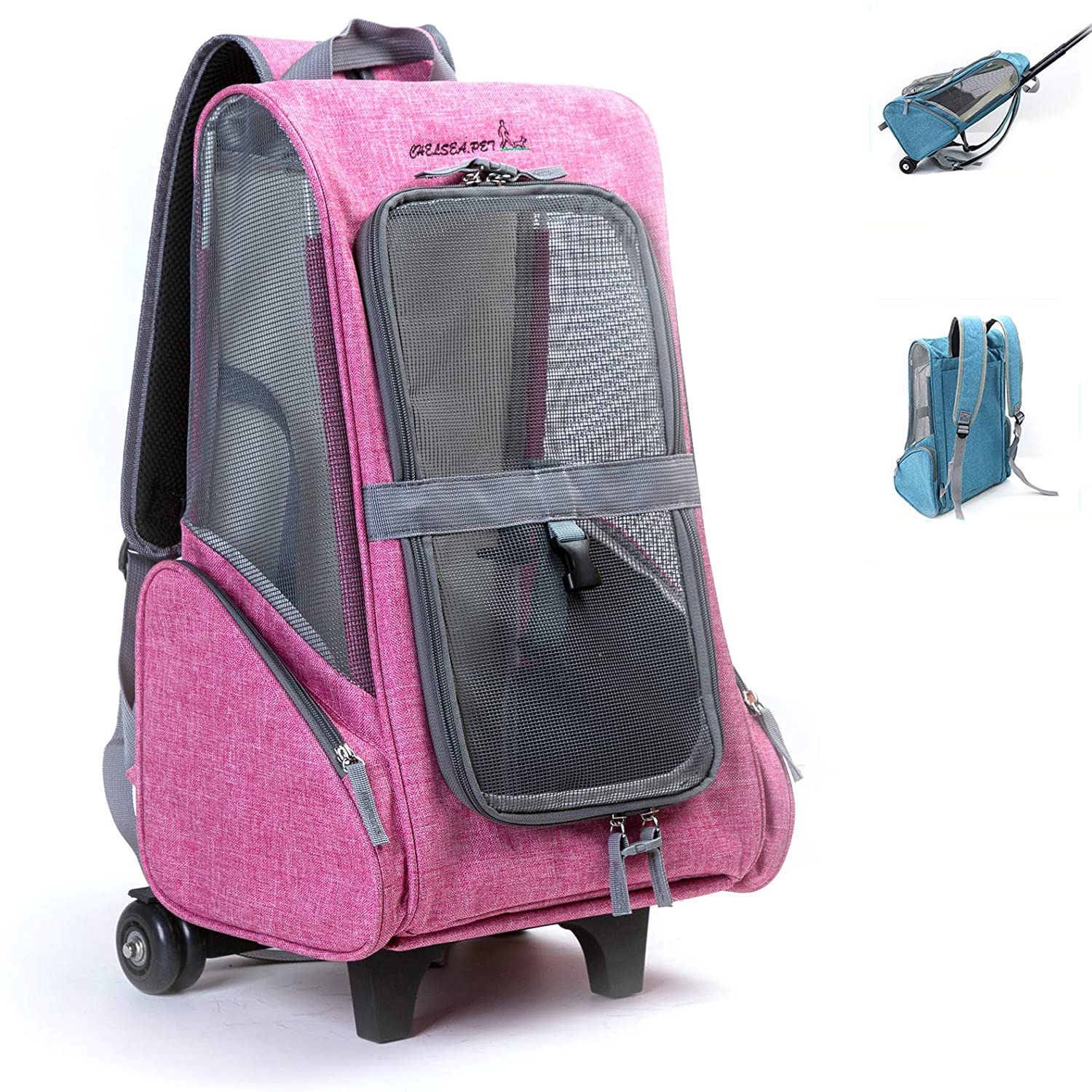 pink Tineer Multifunction Pet Travel Carrier Detachable pet Trolley Bag,Pet Collapsible Backpack Portable for Small Dogs,Kittens,Rabbits (pink)