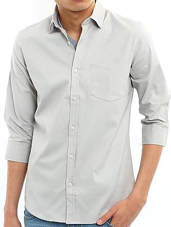 6f346510be4 Amazon | インプローブス 七分袖シャツ 長袖シャツ オックスフォードシャツ スリム メンズ | シャツ 通販