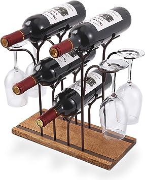 Wood & Metal Tabletop Wine Holder