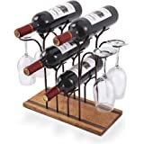 Tabletop Wood Wine Holder, Countertop Wine Rack, Hold 4 Wine Bottles and 4 Glasses, Perfect for Home Decor & Kitchen…