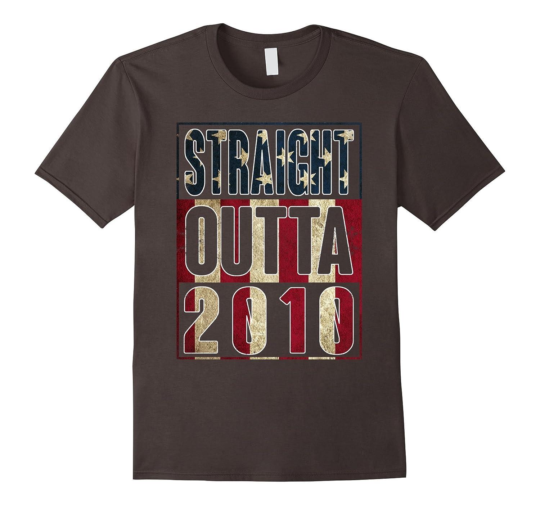 7th Birthday Straight outta 2010 American flag T Shirt