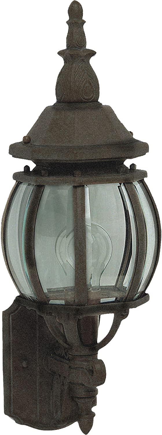 Black Finish Maxim 1032BK Crown Hill 1-Light Outdoor Wall Lantern Dry Safety Rating MB Incandescent Incandescent Bulb Standard Dimmable 5750 Rated Lumens Glass Shade Material 100W Max. Clear Glass