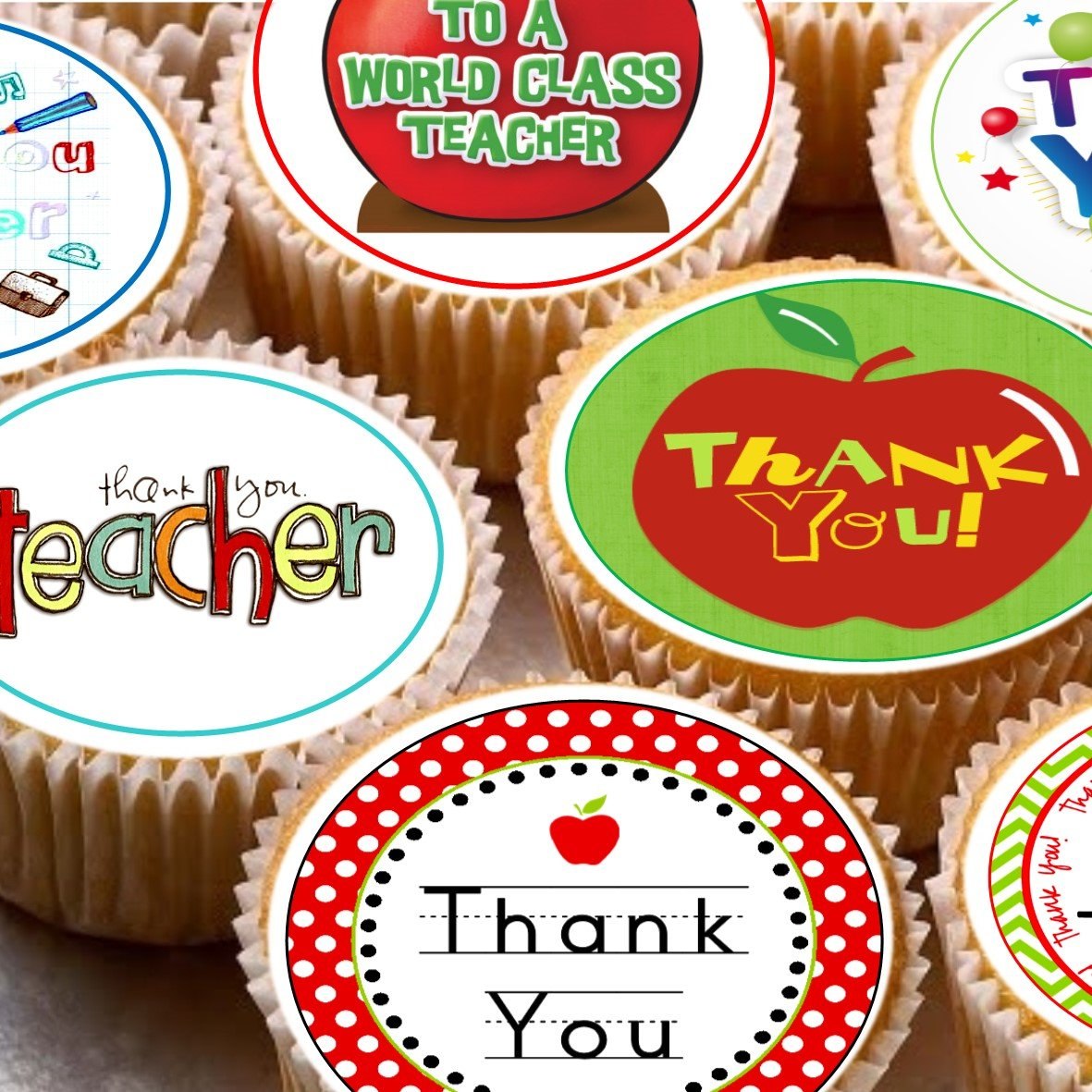 Thank You Apple Teachers Gift Edible Image REAL Icing Large Cake Topper