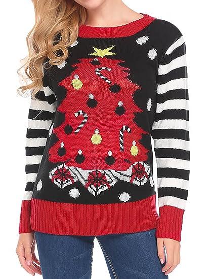 73baef9ce528 SoTeer Ugly Christmas Sweater Women s Crew Neck Christmas Tree Warm ...