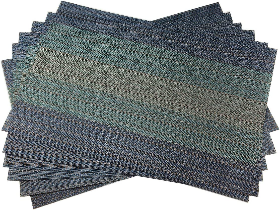 Gugrida Exquisite Woven Vinyl Placemats for Dining Table Heat Resistant PVC Table Mats (Pack of 6, Blue)