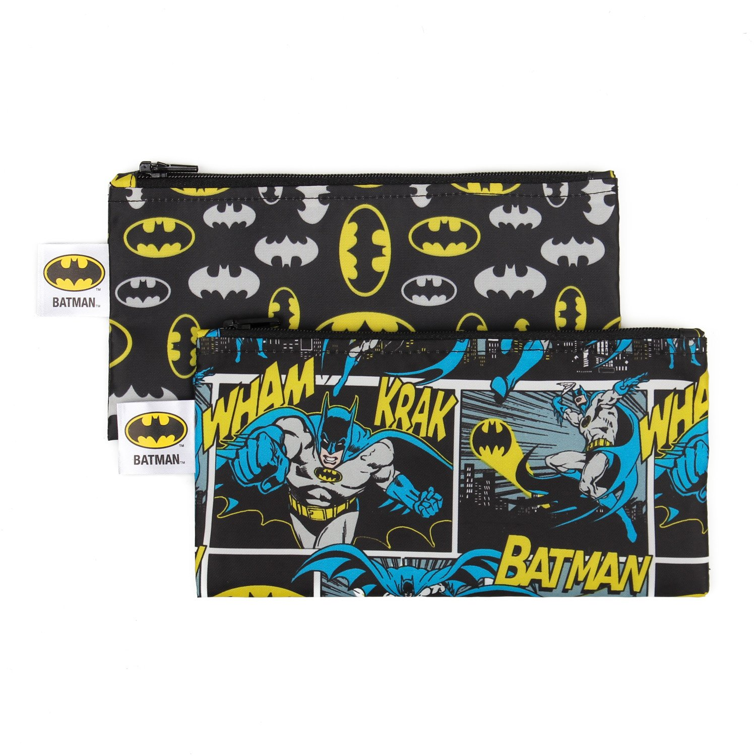 Bumkins DC Comics Batman Snack Bags, Reusable, Washable, Food Safe, BPA Free, Pack of 2