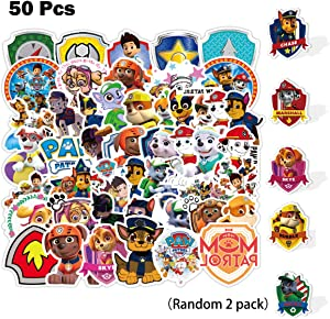 Kilmila Cut Dog Team Stickers (50Pcs with Random 2 Pack Collectible Pup Badge) for Laptop Water Bottle Bike Car Motorcycle Bumper Luggage Skateboard Graffiti