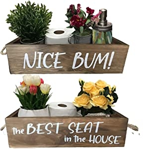 TRENZZI Bathroom Decor Box, Toilet Basket Bathroom Sign, 2 Sides - Nice Bum and The Best Seat in The House Cute Bathroom Decor, Bathroom Basket
