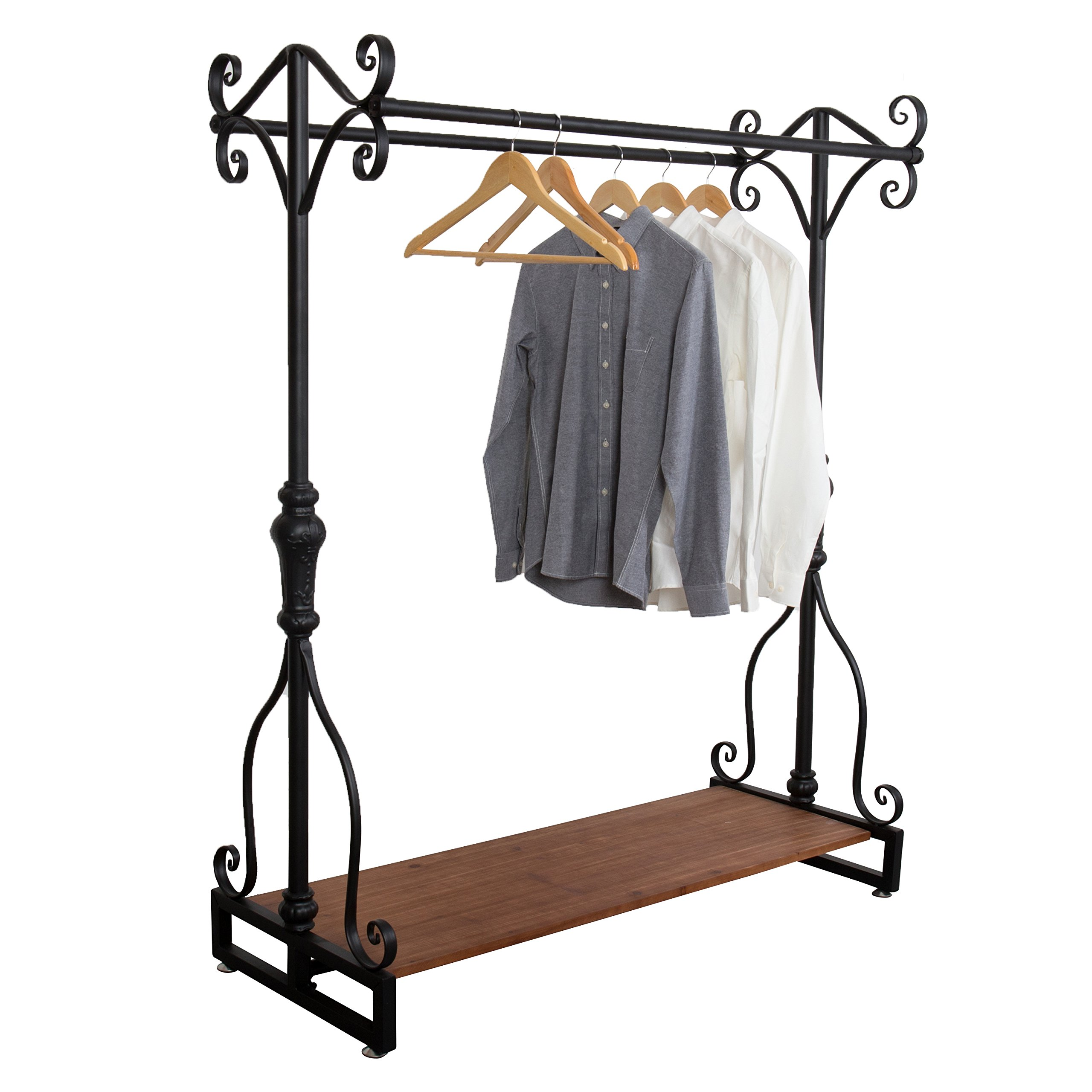 Victorian Style Metal Boutique Dual Hangrail Garment Clothing Rack with Wood Cargo Storage Shelf, Brown