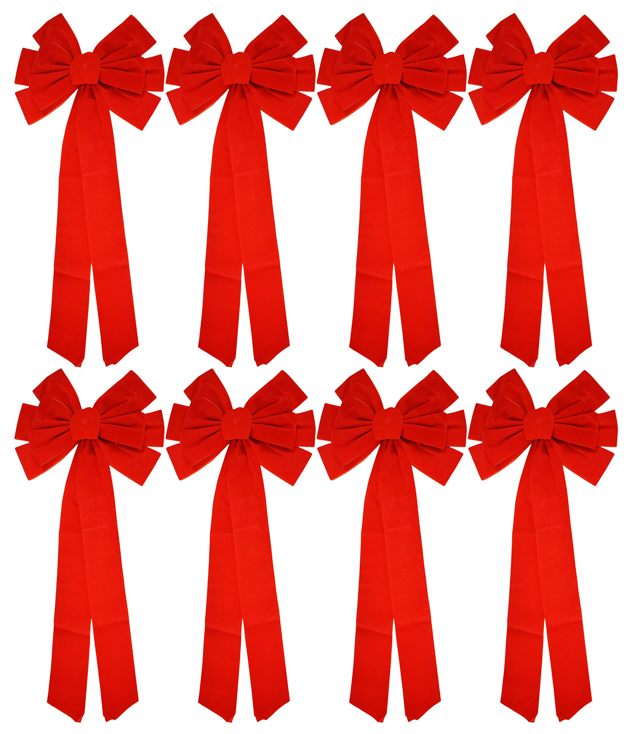 """26/"""" Long 10/"""" Wide 10 Bows Christmas Holiday Giant Red Velvet Bows"""