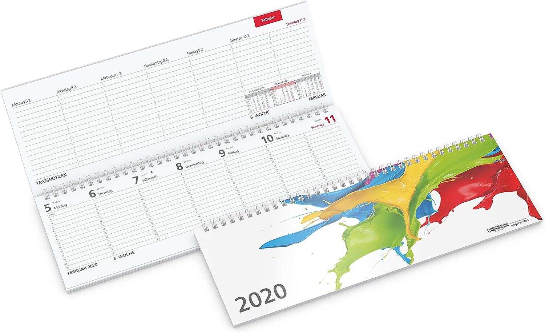 Mesa de Horizontal Calendario 2019 Tempo | – Agenda (1 semana en 2 ...