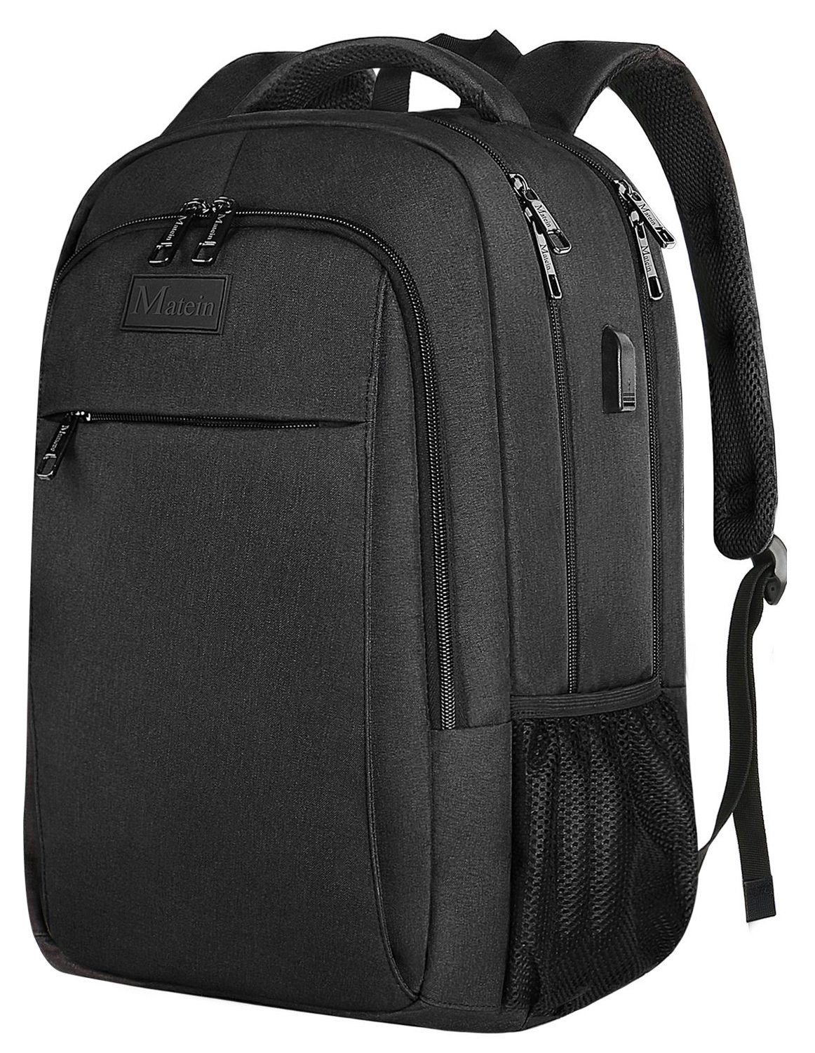 Business Travel Backpack, Matein Laptop Backpack with USB Charging Port for Men Womens Boys Girls, Anti-Theft Water Resistant College School BookBag Computer Backpack Fits 15.6 Inch Laptop & Notebook