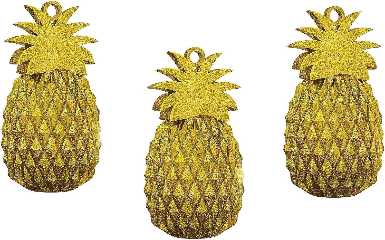 Birthday Luau Party Supplies Pack of 3 Centerpiece for Summer Wedding 2.5 x 5.5 Glitter Gold Pineapple Balloon Weight Decoration Tropical Hawaiian Summer Beach Fun Decor