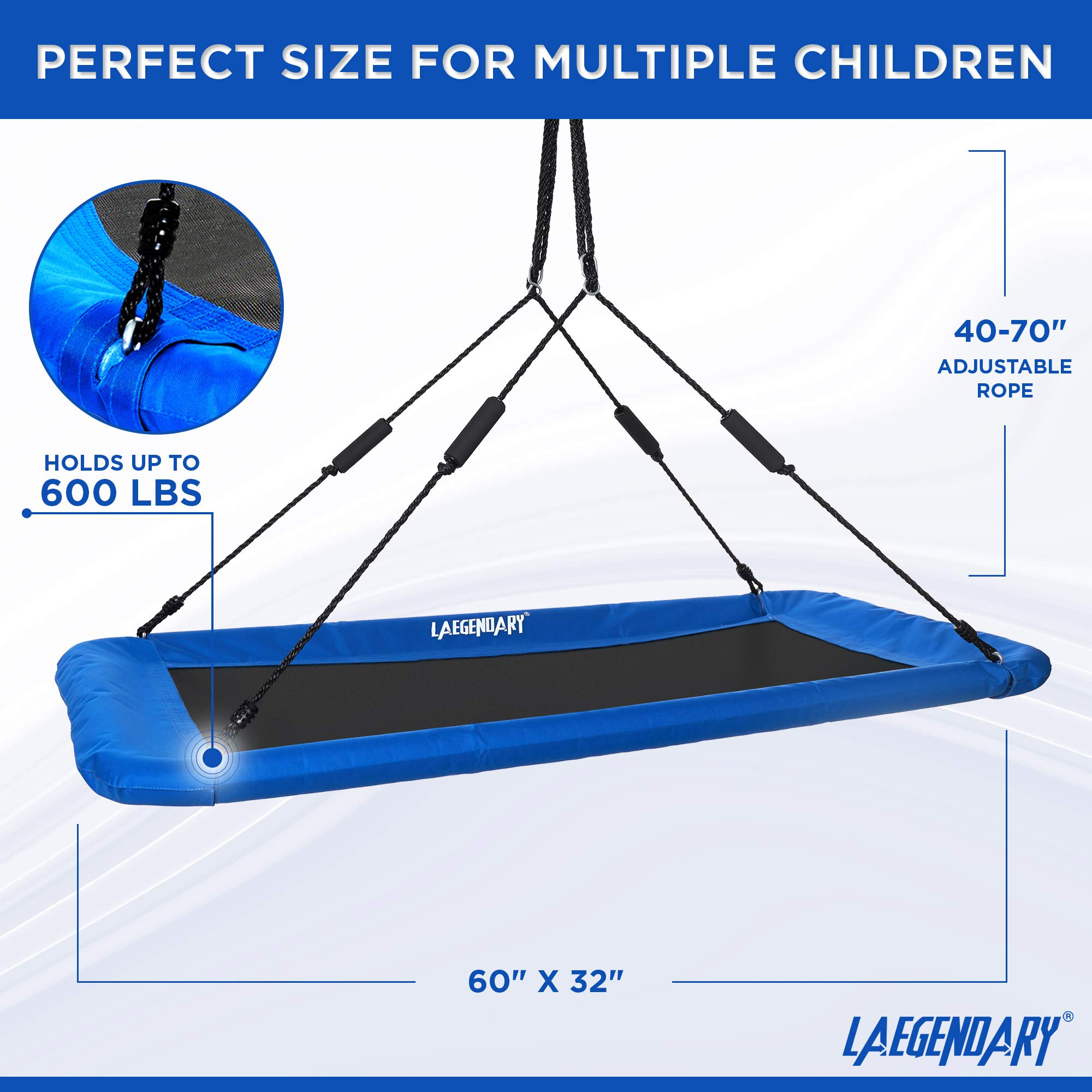 60'' Giant Platform Tree Swing for Kids and Adults | Flying Outdoor Indoor Saucer Hammock | Surf Tire Swingset Accessories Toys | 2 Tree Straps, 2 Carabiners, 1 Swivel | 600 Lb Capacity Yard Swings Set by LÆGENDARY (Image #4)