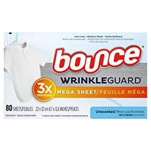 Bounce Bounce WrinkleGuard Mega Dryer Sheets, Fabric Softener and Wrinkle Releaser Sheets, Unscented, 80 Count, 80 Count