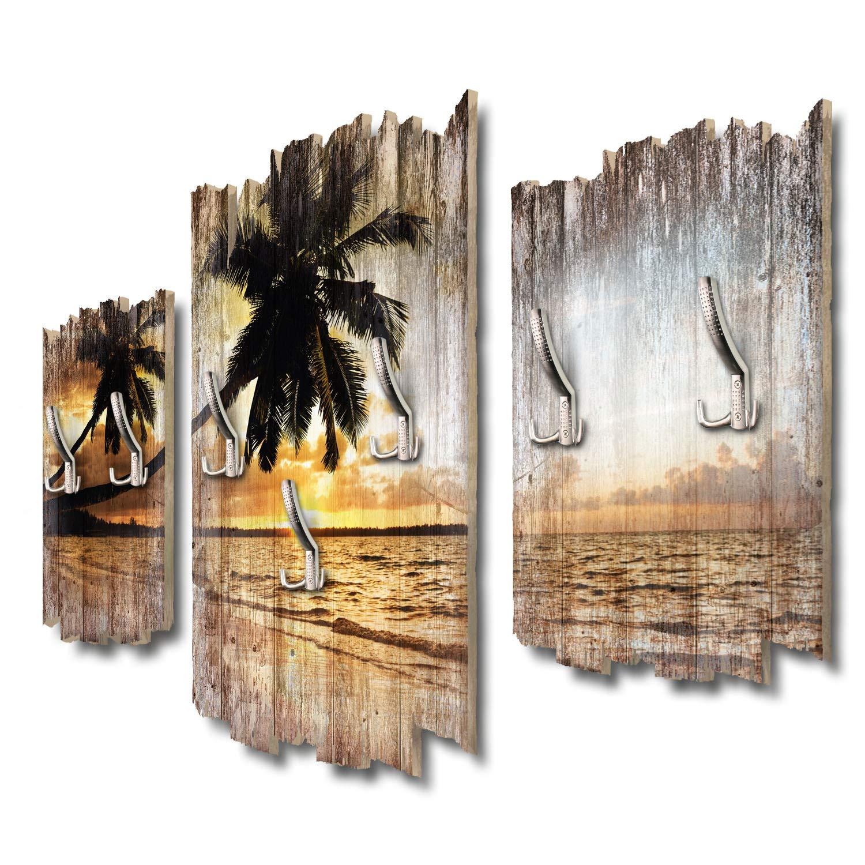 Kreative Feder Palmenstrand Designer Wandgarderobe Flurgarderobe Wandpaneele 95 x 60 cm aus MDF DTGH084