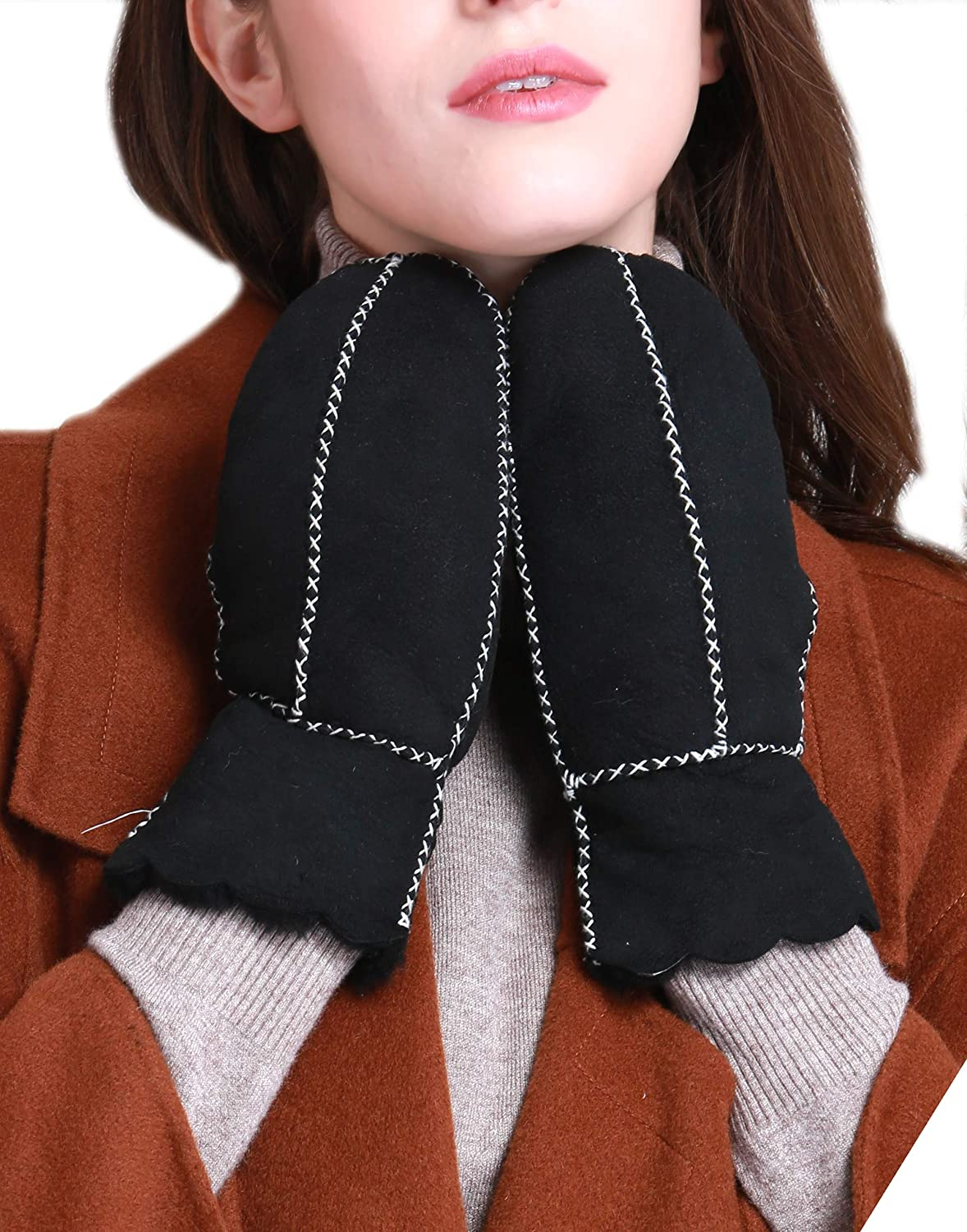 YISEVEN Women's Winter Merino Lambskin Shearling Leather Mitten Wool Lined