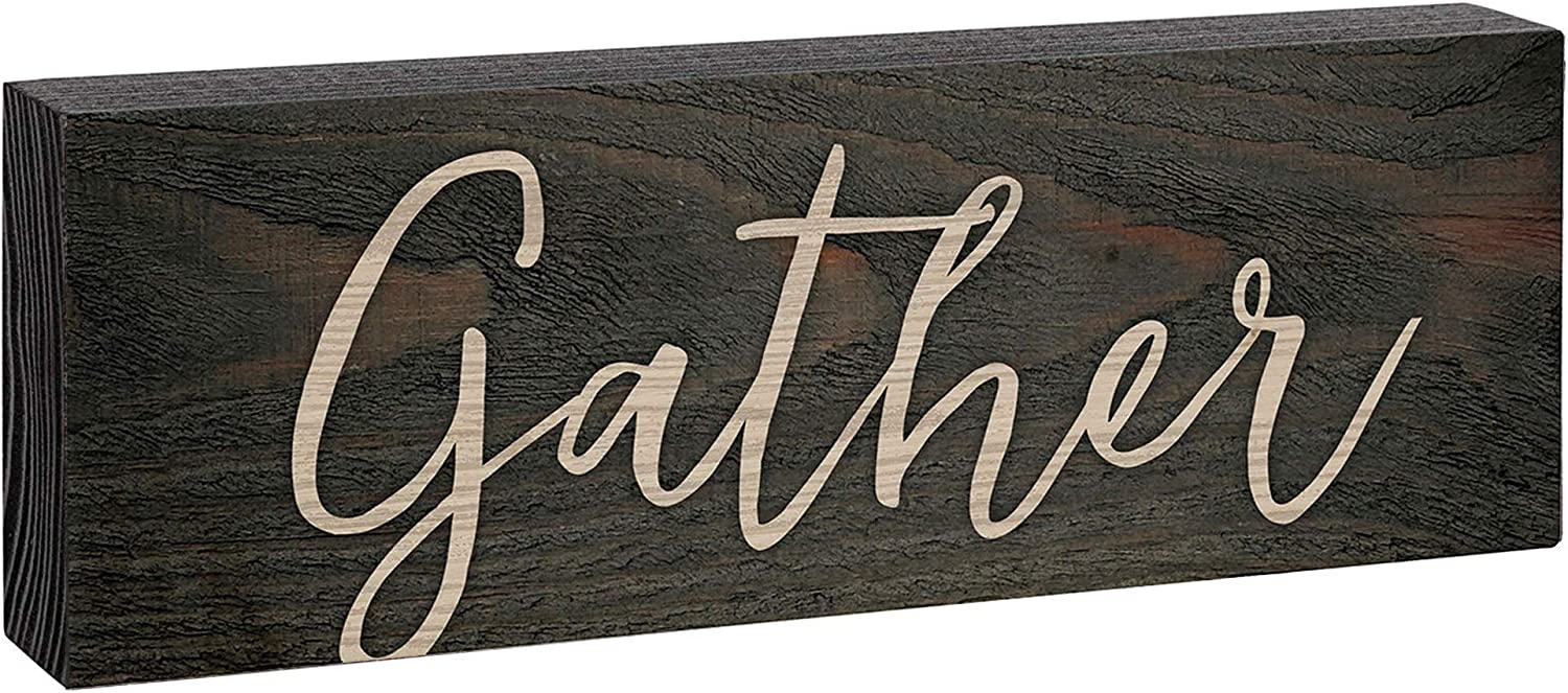 GRAHAM DUNN Live Simply Floral Wreath Whitewash 3.5 x 3.5 Inch Pine Wood Tabletop Block Sign P