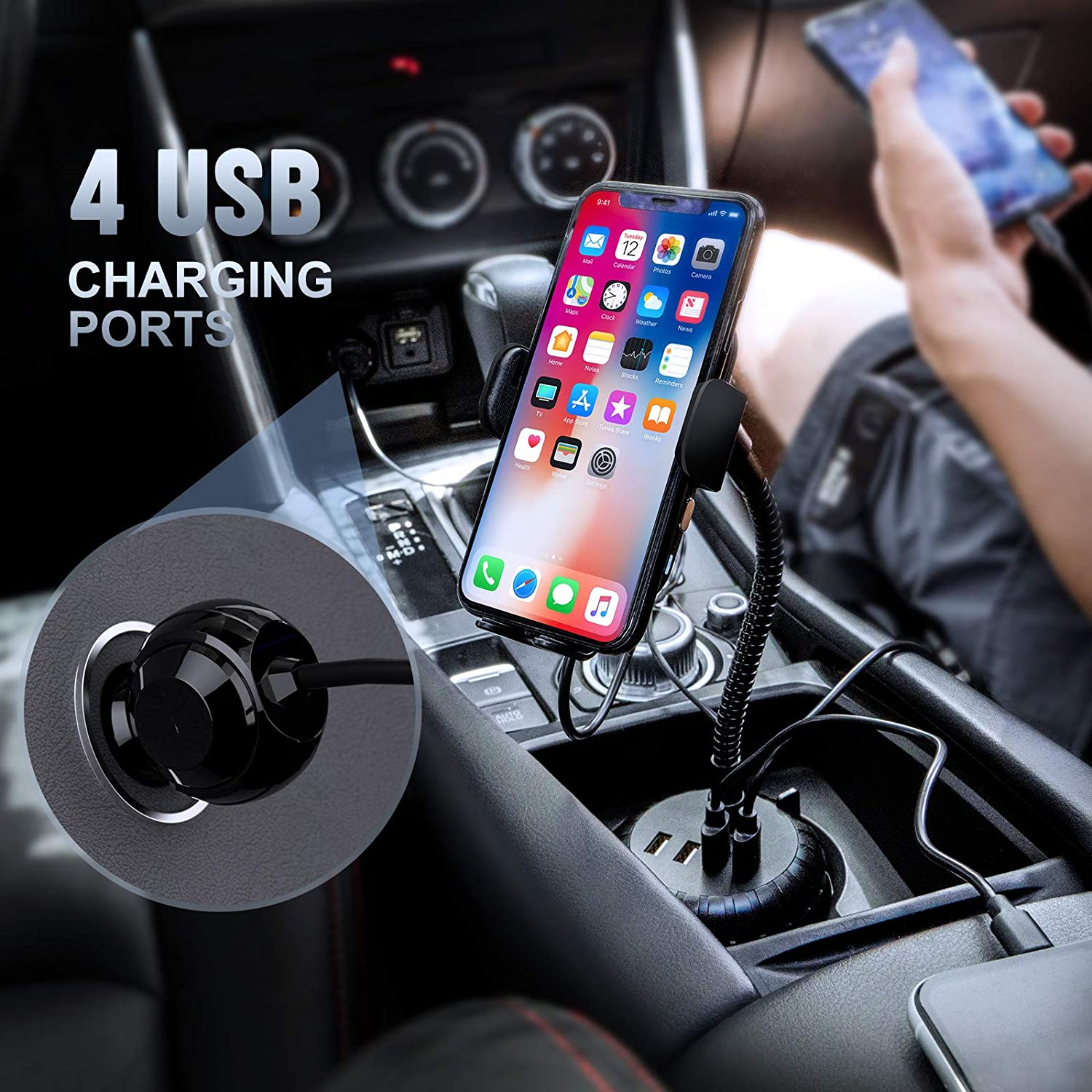 Wireless car Charger Sopownic 3-in-1 Car Cup Holder Phone Mount with 4 USB Ports Auto Clamping 10W Fast Qi Charging Cell Phone Cup Holder Compatible for iPhone Samsung and More