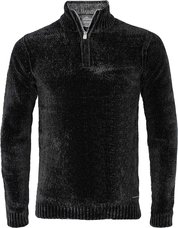 Threadbare Herren Chenille Halbe Zip Strickwaren Pullover Top Torres