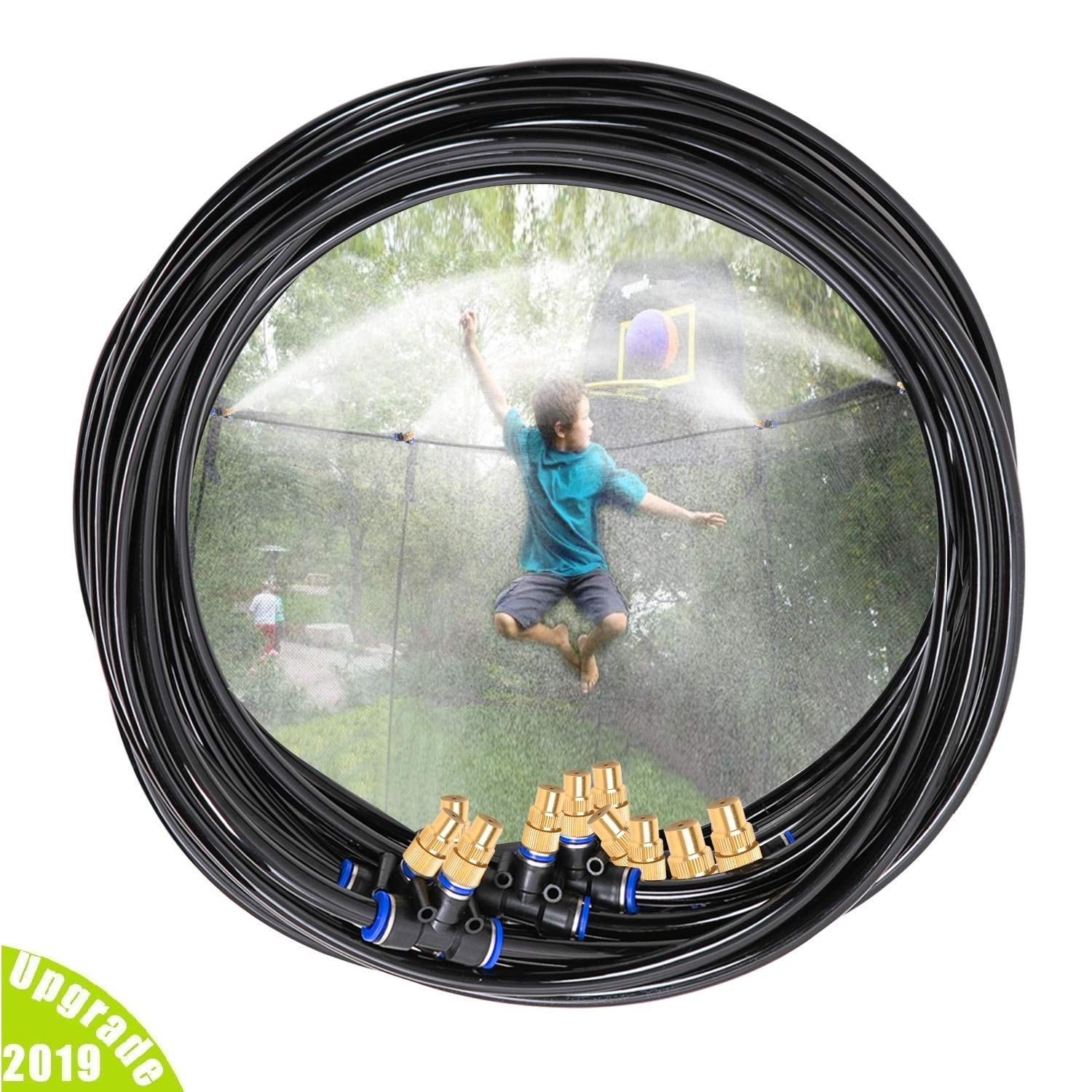 H&G lifestyles Outdoor Trampoline Water Play Sprinklers for Kids- Summer Outdoor Water Fun Game Toys Accessories - Great for Boys & Girls and Adults - Attached On Trampoline Safety Net Enclosure by H&G lifestyles