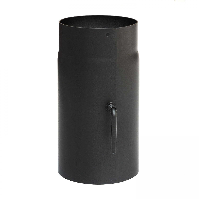 raik SH034-200-sw Rauchrohr / Ofenrohr 200mm - 250mm mit Zugregulierung schwarz