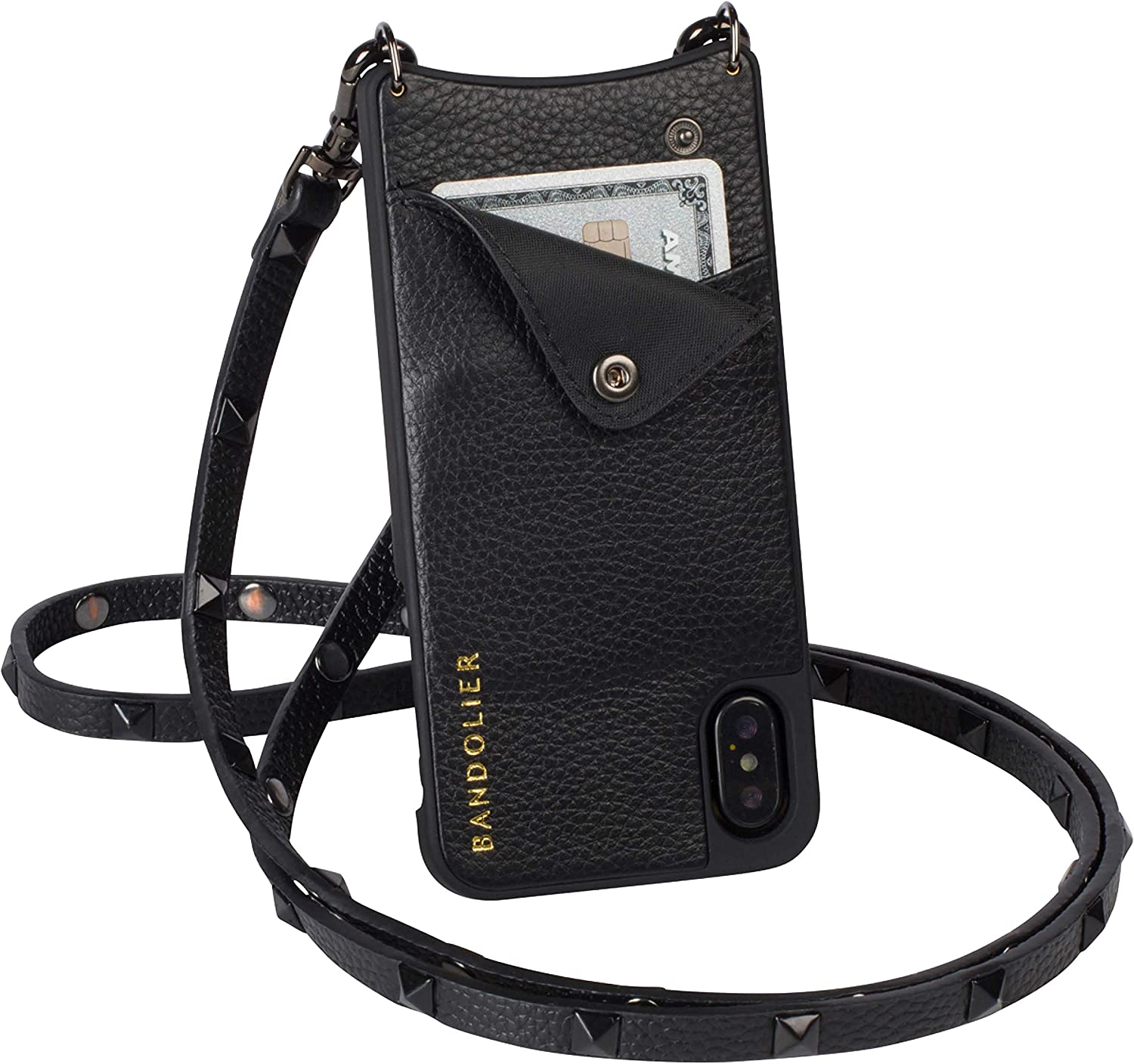 Bandolier Sarah Crossbody Phone Case and Wallet - Black Leather with Pewter Detail - Compatible with iPhone 8 Plus, 7 Plus, 6 Plus, 6s Plus Only