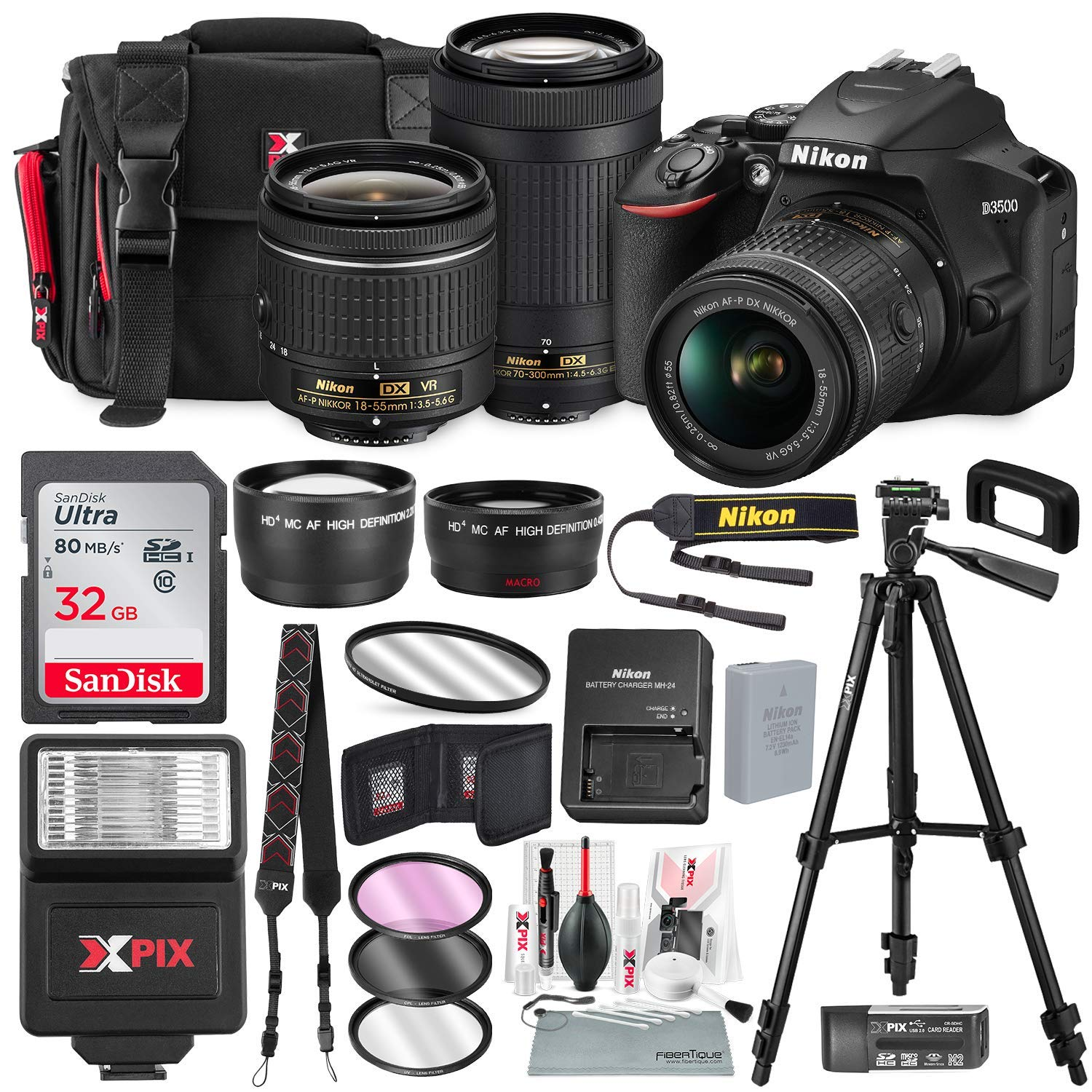 Nikon D3500 DSLR Camera with 18-55mm and 70-300mm Lenses + 32GB Card, Tripod, Flash, and Bundle by Photo Savings (Image #1)
