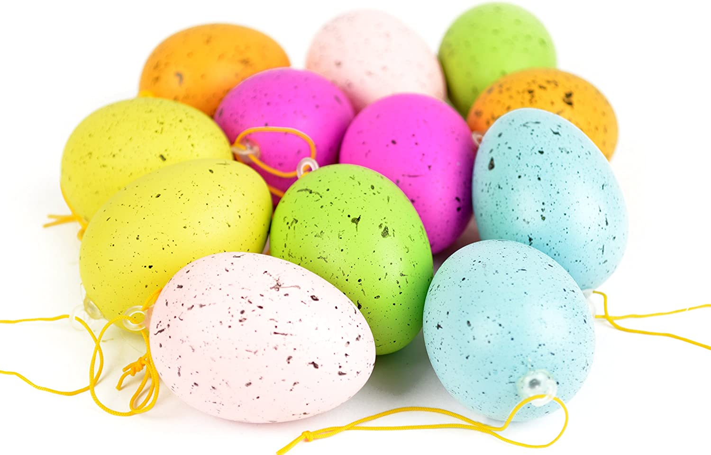 6 moderne Farben bunte Ostereier Osterdeko zwei Varianten * 12er-Set Deko-Eier zum Aufh/ängen 5 cm H/öhe: ca Gefleckt