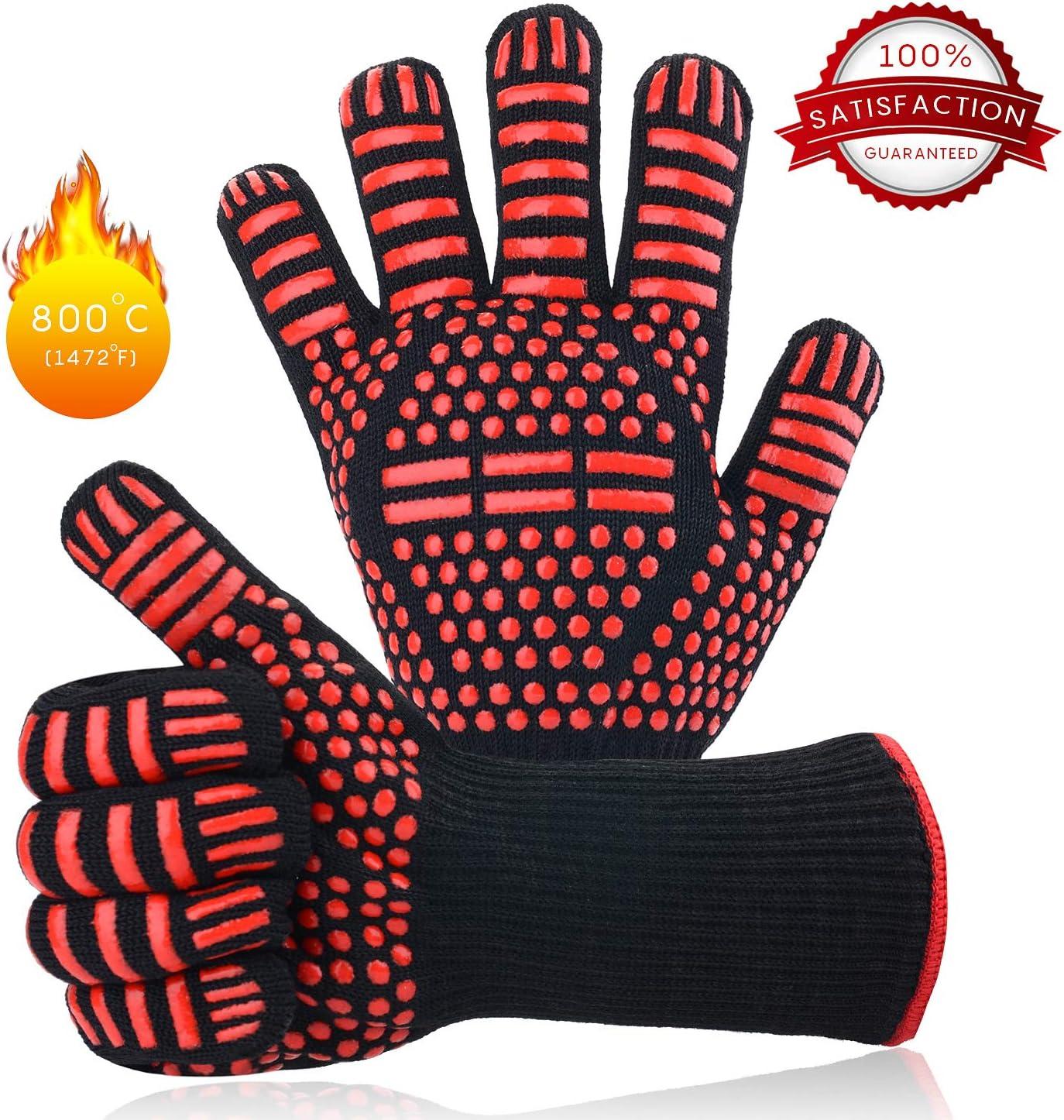 Guantes de Barbacoa, Barbacoa Parrilla Guantes 932°F (500°C) Resistentes Calor para el Horno Hornear Cocina Accesorios, Guantes para Cocinar Chimenea Hornear Asar (1 Par)